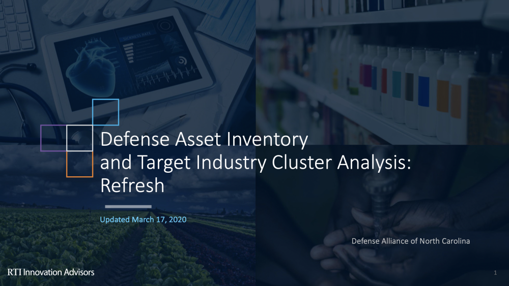 Defense Asset Inventory and Target Industry Cluster Analysis: Refresh Presentation Cover
